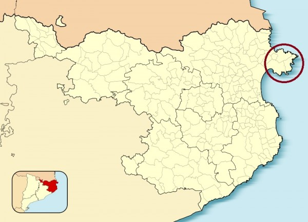 serralada pirinenca. Mapa de localització del Cap de Creus ©Pdg