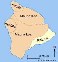 Esquema de la distribució de les diferents regions dels principals volcans de l'illa de Hawaii.