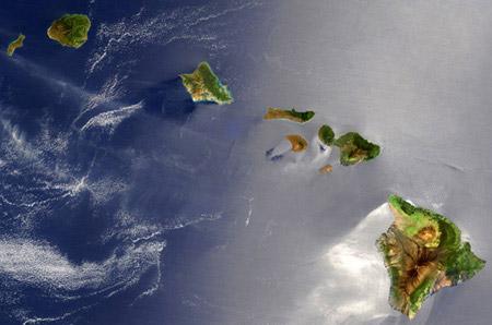Imatge de satèl·lit de les illes Hawai