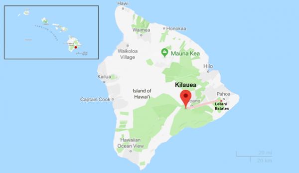Mapa de la localització de Leilani Estates al est de l'illa de Hawaii i de la zona de risc enfront l'erupció del Kilauea
