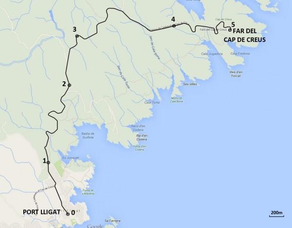 Mapa de les 5 parades de l'itinerari en cotxe ©CMCNB