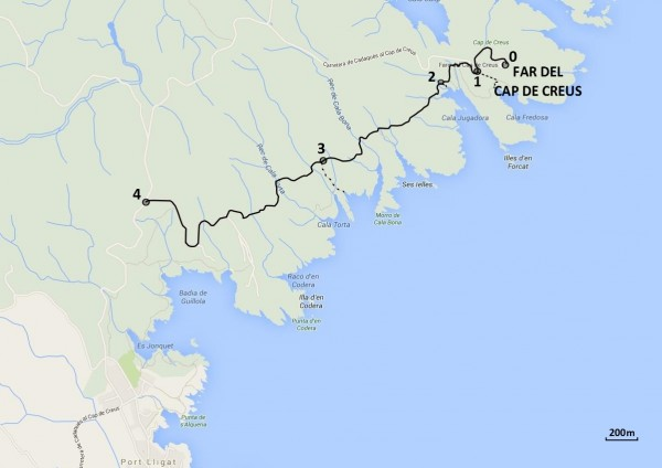 Mapa de les 4 parades de l'itinerari a peu ©CMCNB